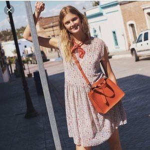 Madewell tie-back mini dress in Shadowpetal. M